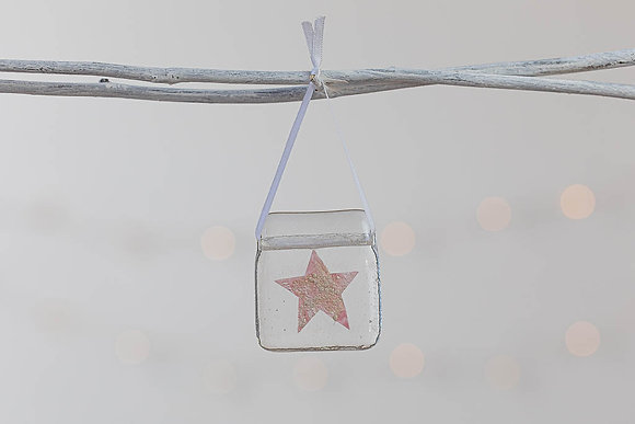 Pink and shimmer glass star