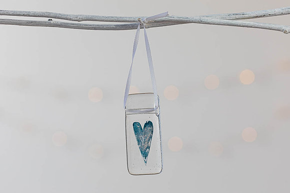 Deep blue and silver glass heart