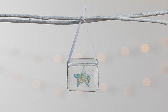 Baby blue  and silver glass star