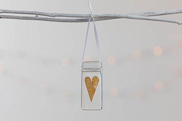Gold glass heart