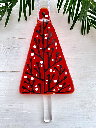 Eve - Bespoke glass hanging decoration, berry red