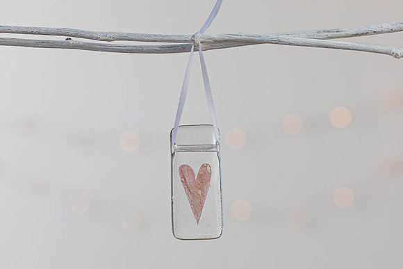 Pink and shimmer  glass heart