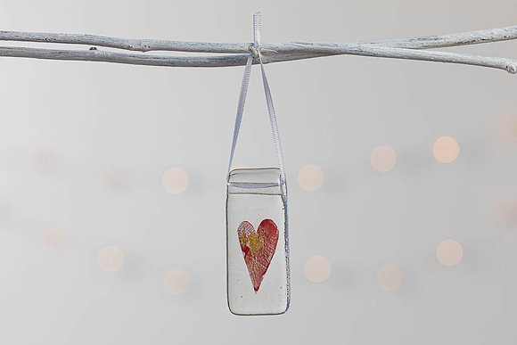 Red and gold glass heart