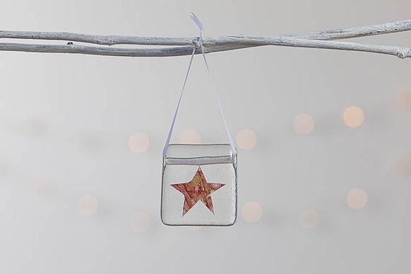 Red and gold glass star