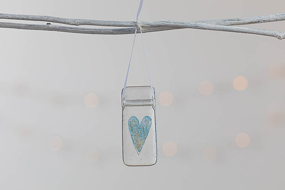 Baby blue and silver glass heart