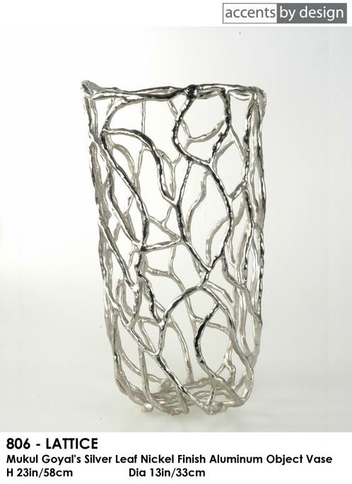 Lattice Silver Leaf Finish Aluminum Vase H23in58cm Dia13in33cm