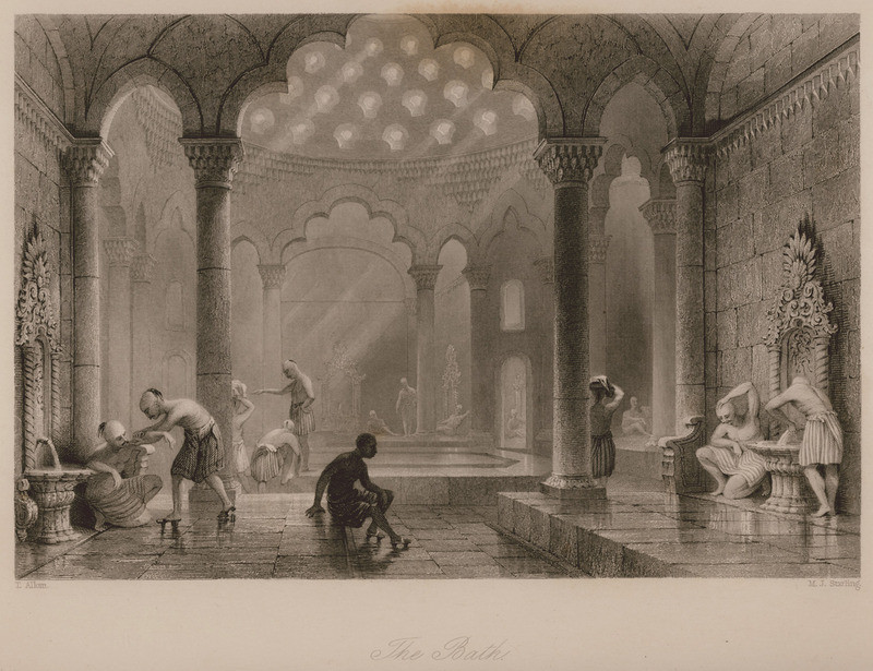 Hamam in Istanbul in WALSH, Robert/ALLOM, Thomas. Constantinople and the Scenery of the Seven Churches of Asia Minor illustrated. In a Series of Drawings from Nature by Thomas Allom. With an historical account of Constantinople, and descriptions of the plates, by the Rev. Robert Walsh..., Λονδίνο/Παρίσι, Fisher, Son & Co. [1836-38].