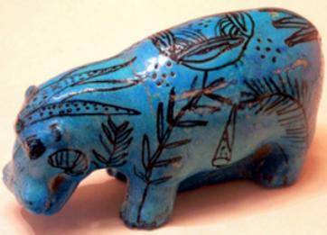 Egyptian faience hippopotamus, 2033–1710 BC © The British Museum, London