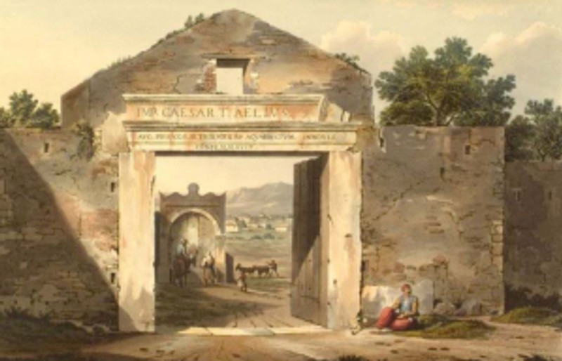 The Ottoman gate of Athens at the entrance from Messogeia (near the Parliament building) with the Boubounistra fountain in the center. Water color by E. Dodwell (1821).