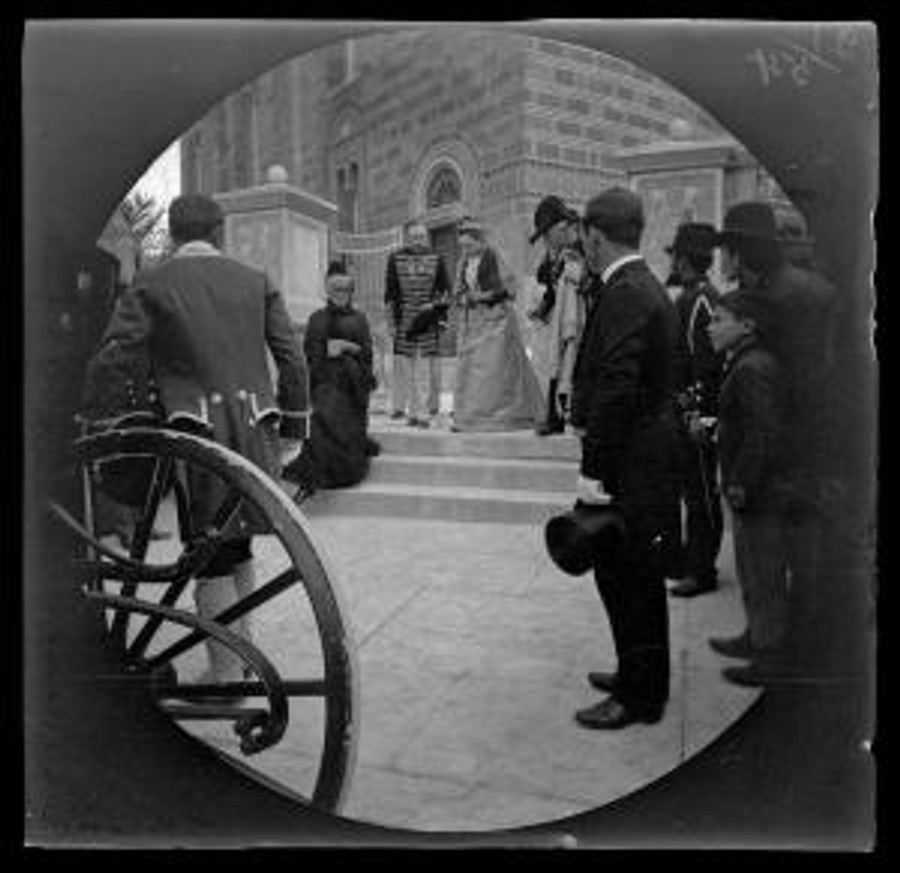 The Russian-born Queen Olga of Greece (1851-1926) descending the stairs after hearing service in the Russian church of Athens, March 14, 1891. © Drupalgardens.com