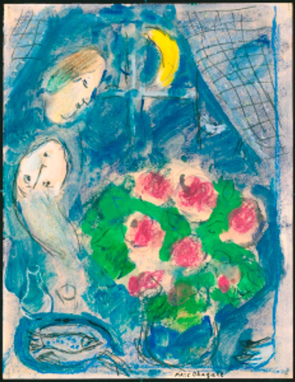 Marc Chagall, La tête blonde de Léto dans le bleu Chagall © Angelos & Leto Katakouzenos Foundation, Athens