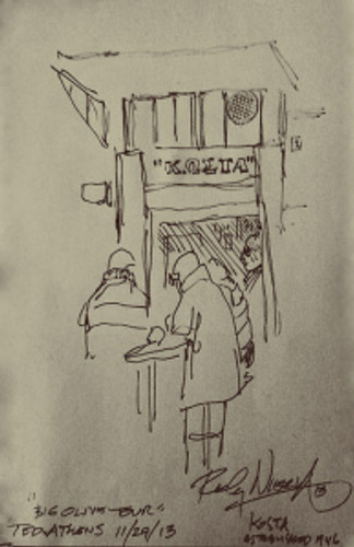 A pencil sketch of Kosta souvlaki joint by Ricky Nierva made during a walking tour oferred to TED speaker by Big Olive.
