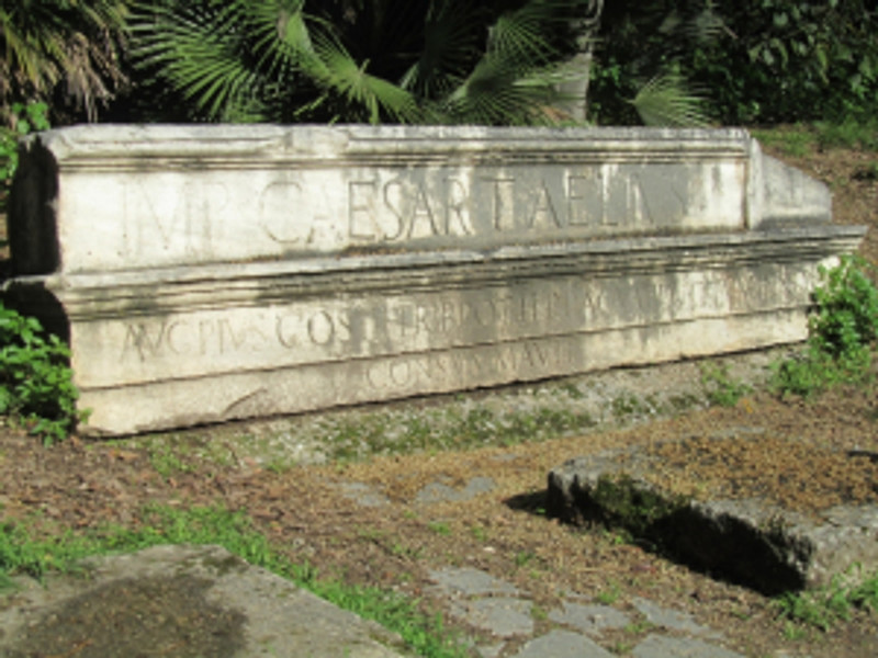 The western part of the lintel of the propylon of Hadrian's reservoir in the National Garden.