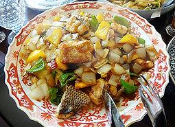白身魚と新玉ねぎの甘酢炒め