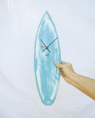 Blue & White Washed Out Surfboard Clock