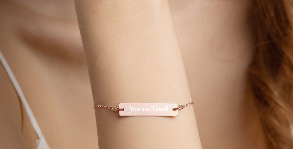 You are Loved Engraved Silver Bar Chain Bracelet