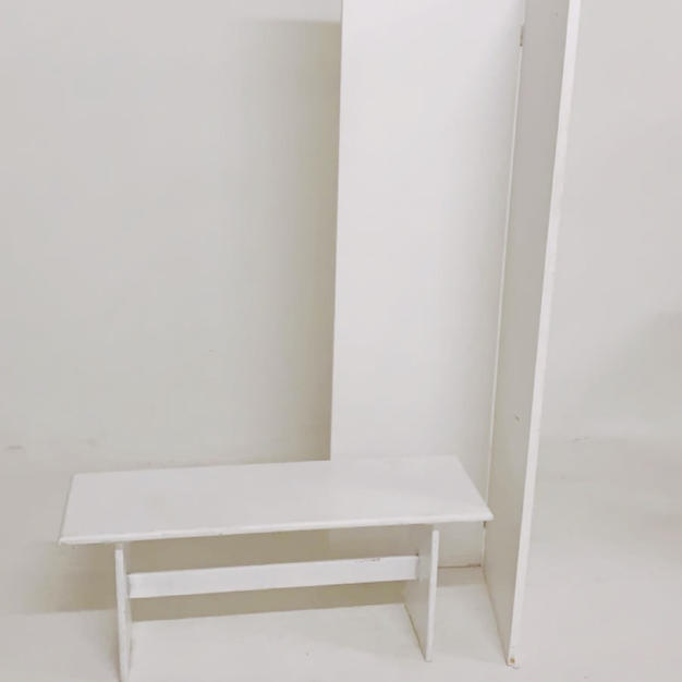 assortment of whit furniture