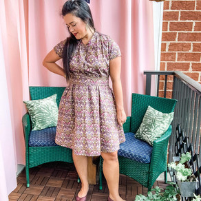 Blank Slate Patterns Marigold Dress in Liberty of London Strawberry Thief | Sew My Style September