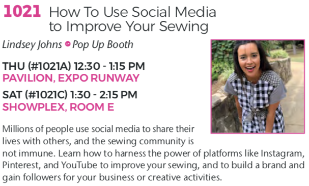 Lindsey Johns Sew Expo 2020 Class How To Use Social Media To Improve Your Sewing