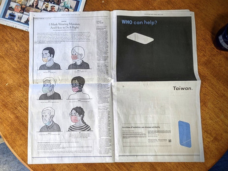 'Taiwan Can Help' ad posted in NYT