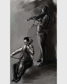 Musicians sketched live at a concert.