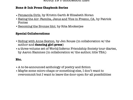 Bone & Ink Press 2018/19 Publication List