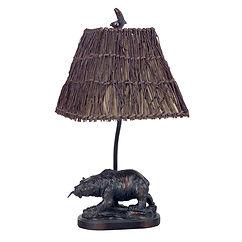 Cal Lighting Bear With Fish Table Lamp