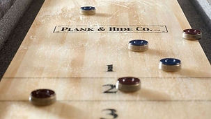 Plank and Hide Shuffleboard Table Detail