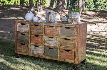 IFD Antique Multicolor 12 Drawer Console