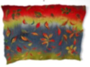park life - handrolled felt wallhanging ; merino fleeces