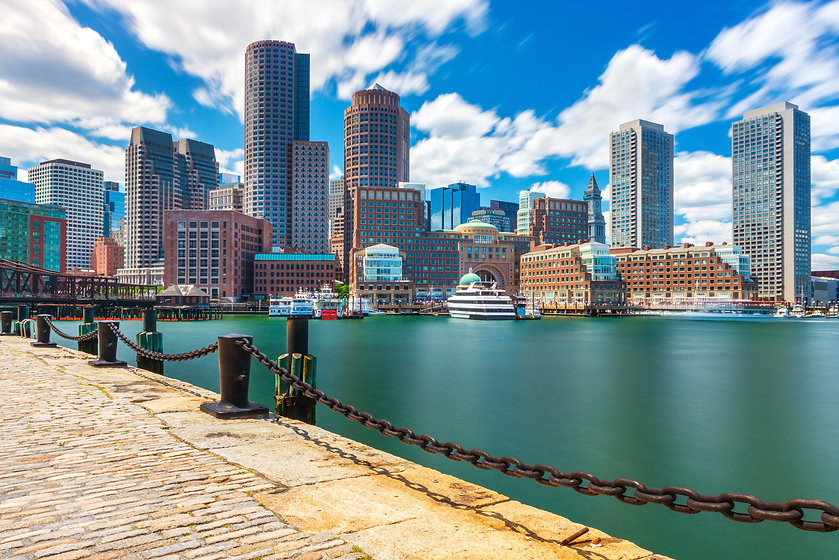 Boston cityscape in sunny day, view from