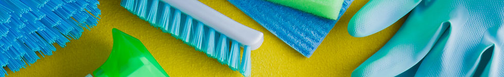 multiple types of cleaning products including rubber gloves and scrubbing brushes