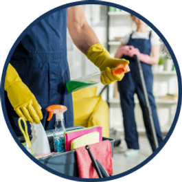 two people are holding cleaning supplies