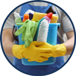 a person is holding a bucket filled with cleaning supplies