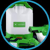 a Victory branded electrostatic sanitation backpack sprayer