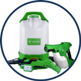 a Victory branded electrostatic sprayer backpack equipment