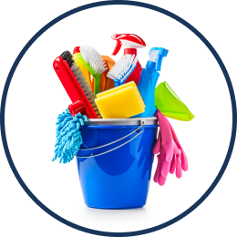 A bucket filled with cleaning supplies