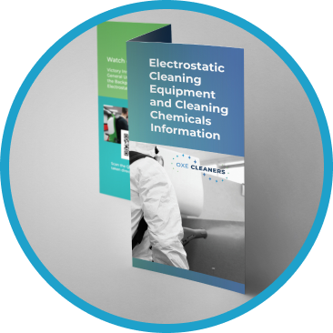 a brochure for OXE Cleaners about the equipment and chemicals used for electrostatic cleaning