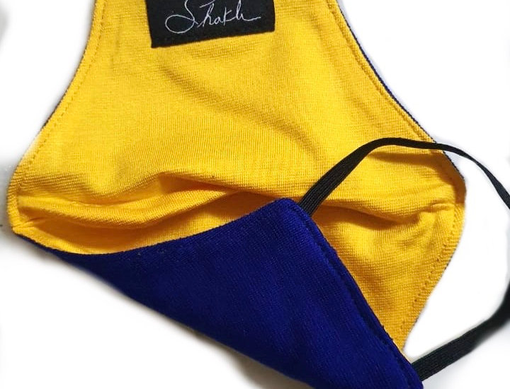 Dual Color Cotton Jersey Mask - Blue Jay and Yellow Bird