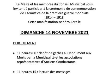 Invitation à la cérémonie de commémoration du 11 Novembre