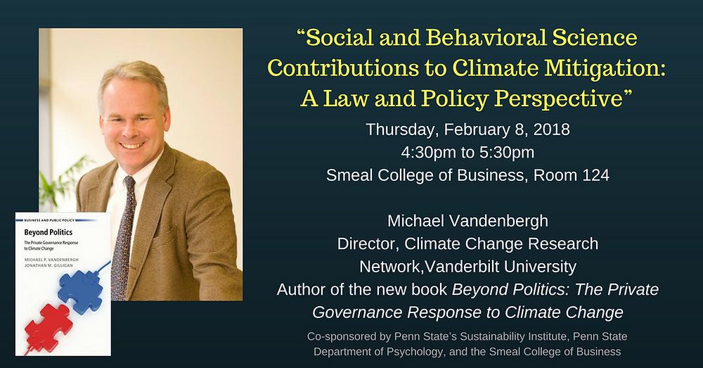 Michael Vandenbergh, Beyond Politics on climate change