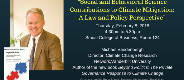 Speaker announcement | Feb 8 4:30pm | Michael Vandenbergh speaks on private sector's role on cli
