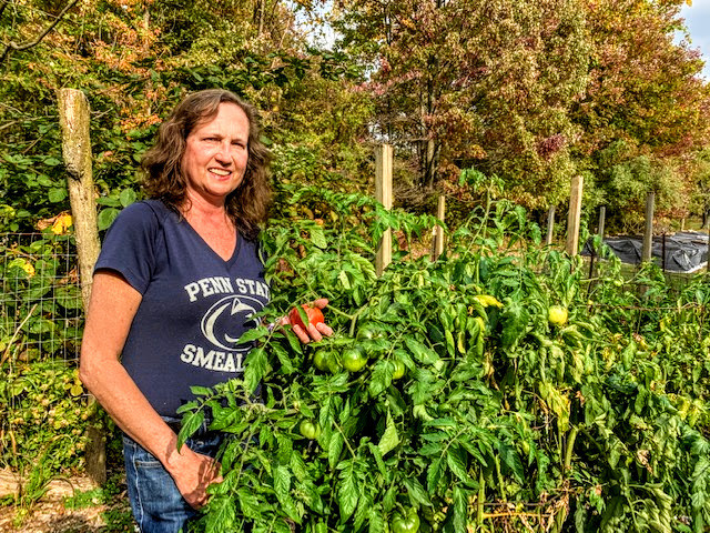 Staff Sustainability Award Winner Melissa Forsha in her home garden