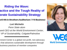 Speaker this week - Lori Michelin, CEO of World Environment Center, former VP of Sustainability at C