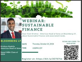 Webinar: Bloomberg on Sustainable Finance, Thursday 2pm EST