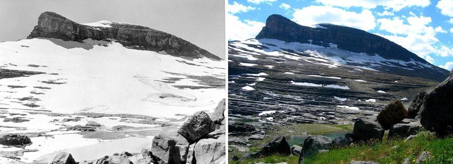 Boulder glacier in Glacier National Park (1935 vs 2005)
