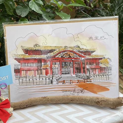 手描き首里城(A4ポスター)