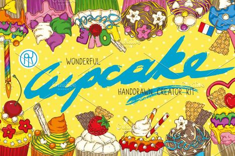 Cupcake. Hand Drawn Creator Kit