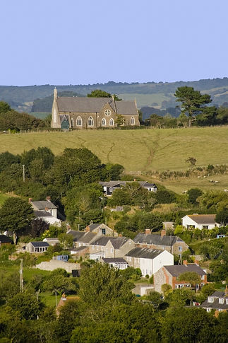 village landscape devon rural church on