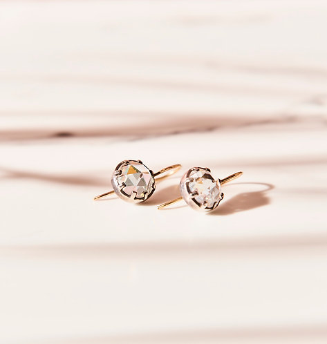 Georgian style rose cut diamond CZ drop earring